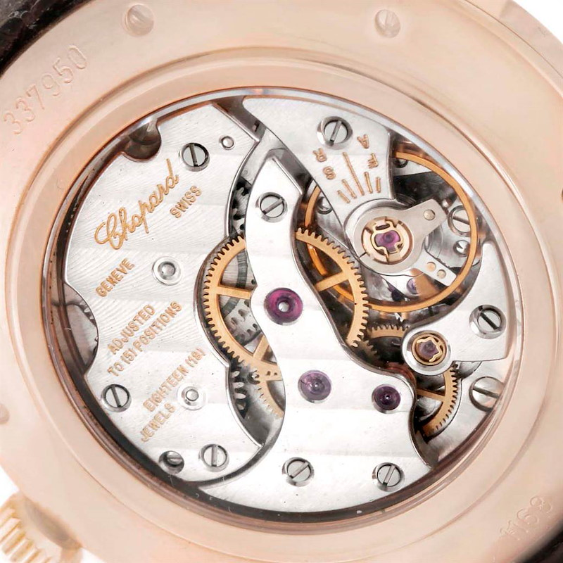 Chopard Classique Rose Gold Black Dial Brown Strap Mens Watch 16-1168 SwissWatchExpo