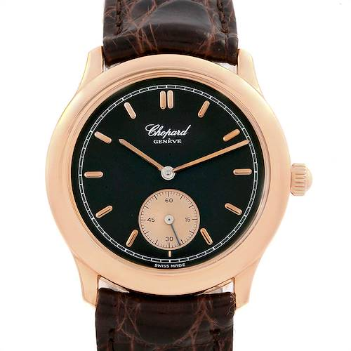 Photo of Chopard Classique Rose Gold Black Dial Brown Strap Mens Watch 16-1168