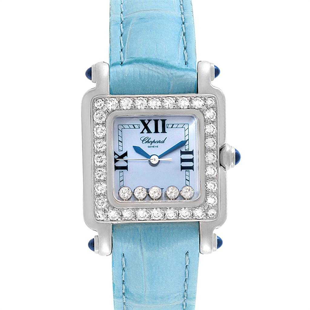 9818 Chopard Happy Sport Blue Mother Of Pearl Diamond Ladies Watch 27/8894-23/11 SwissWatchExpo