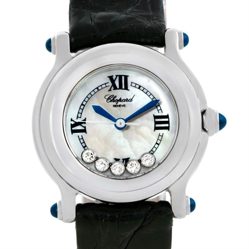 9798 Chopard Happy Sport Mother of Pearl Dial Diamond Watch 27/8245-23 SwissWatchExpo