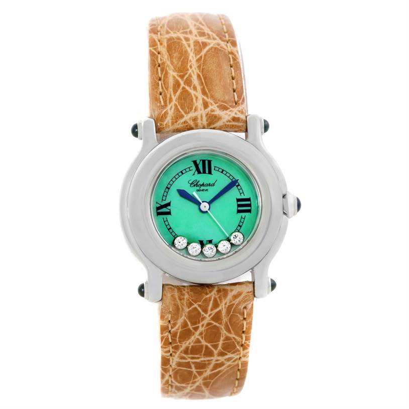9795 Chopard Happy Sport Green Mother Pearl Dial Diamond Watch 27/8245-23 SwissWatchExpo