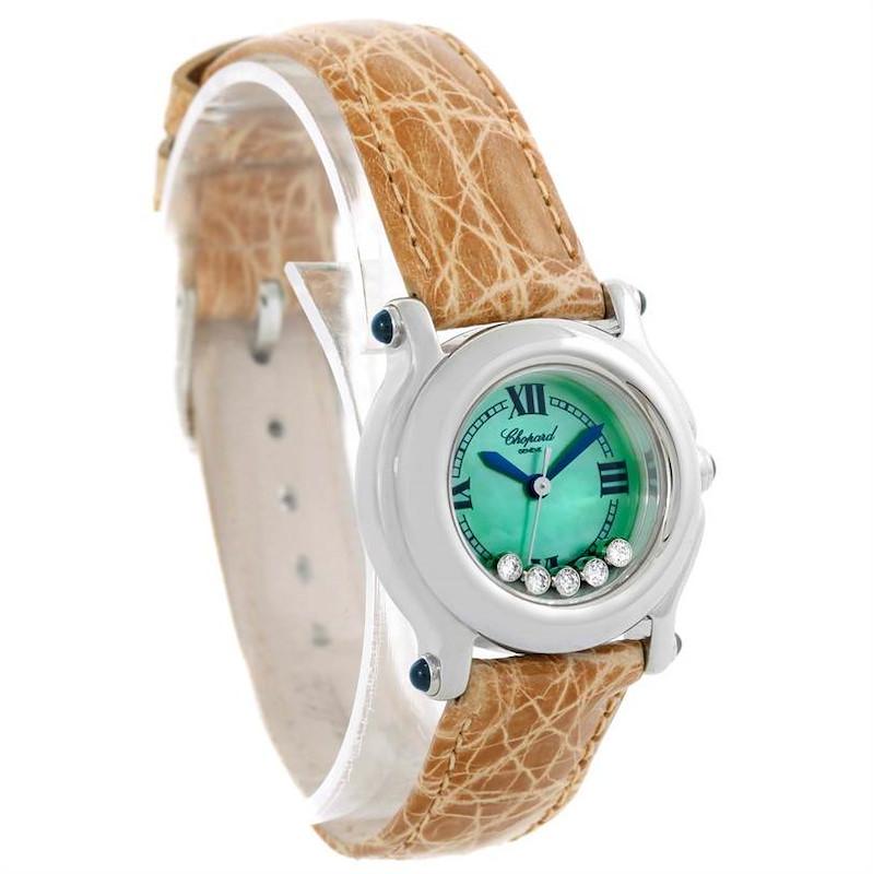 Chopard Happy Sport Green Mother Pearl Dial Diamond Watch 27/8245-23 SwissWatchExpo