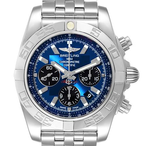 Photo of Breitling Chronomat 01 Blue Dial Steel Mens Watch AB0110 Box Papers