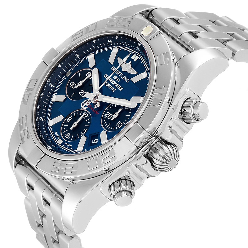 Breitling Chronomat 01 Blue Dial Steel Mens Watch AB0110 Box Papers SwissWatchExpo
