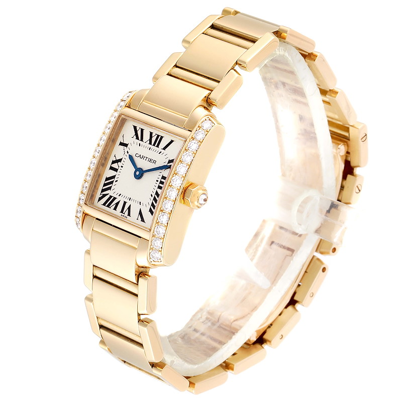 Cartier Tank Francaise 18K Yellow Gold Diamond Ladies Watch WE1001R8 SwissWatchExpo