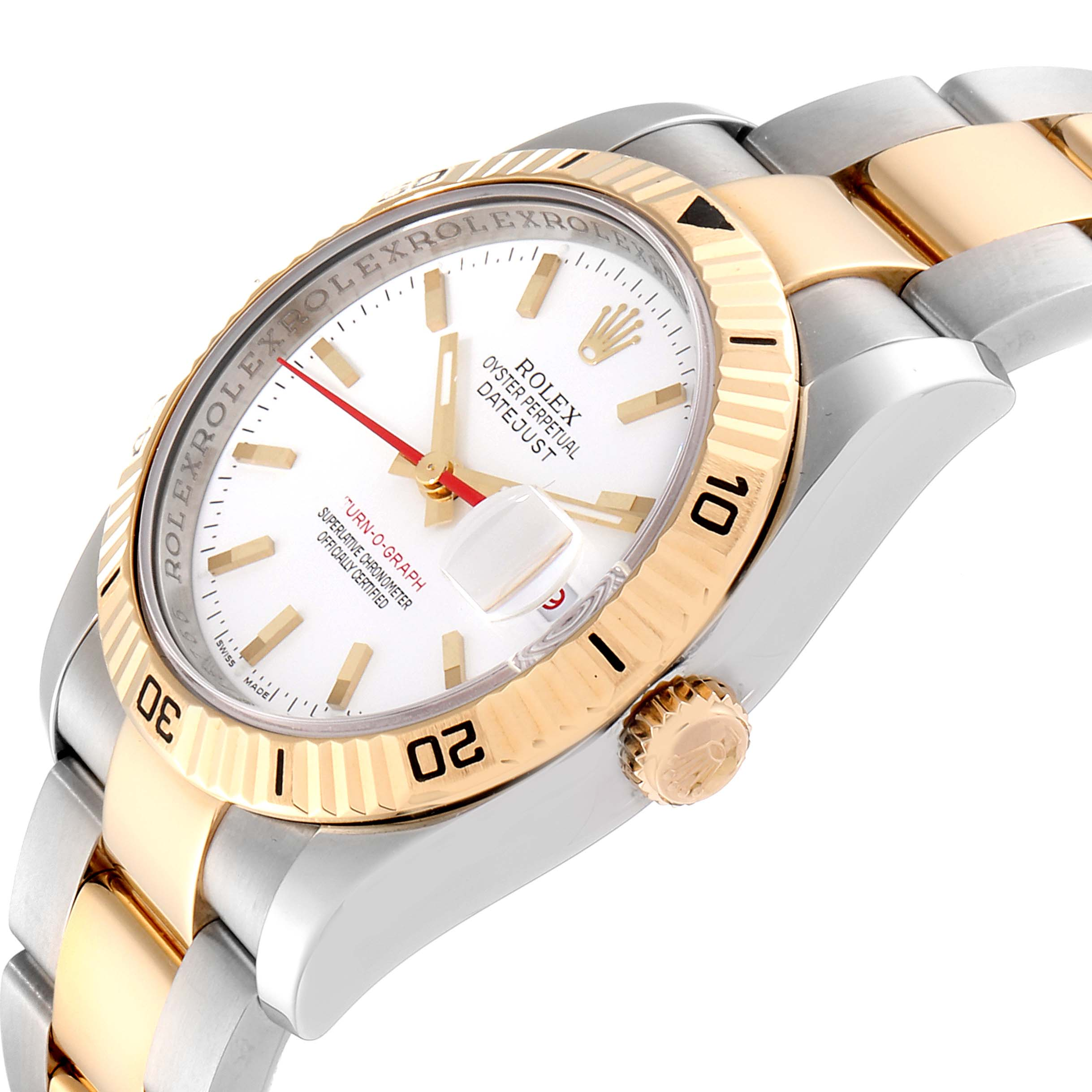 Rolex Datejust Turnograph Steel Yellow Gold Mens Watch 116263 Box Papers SwissWatchExpo