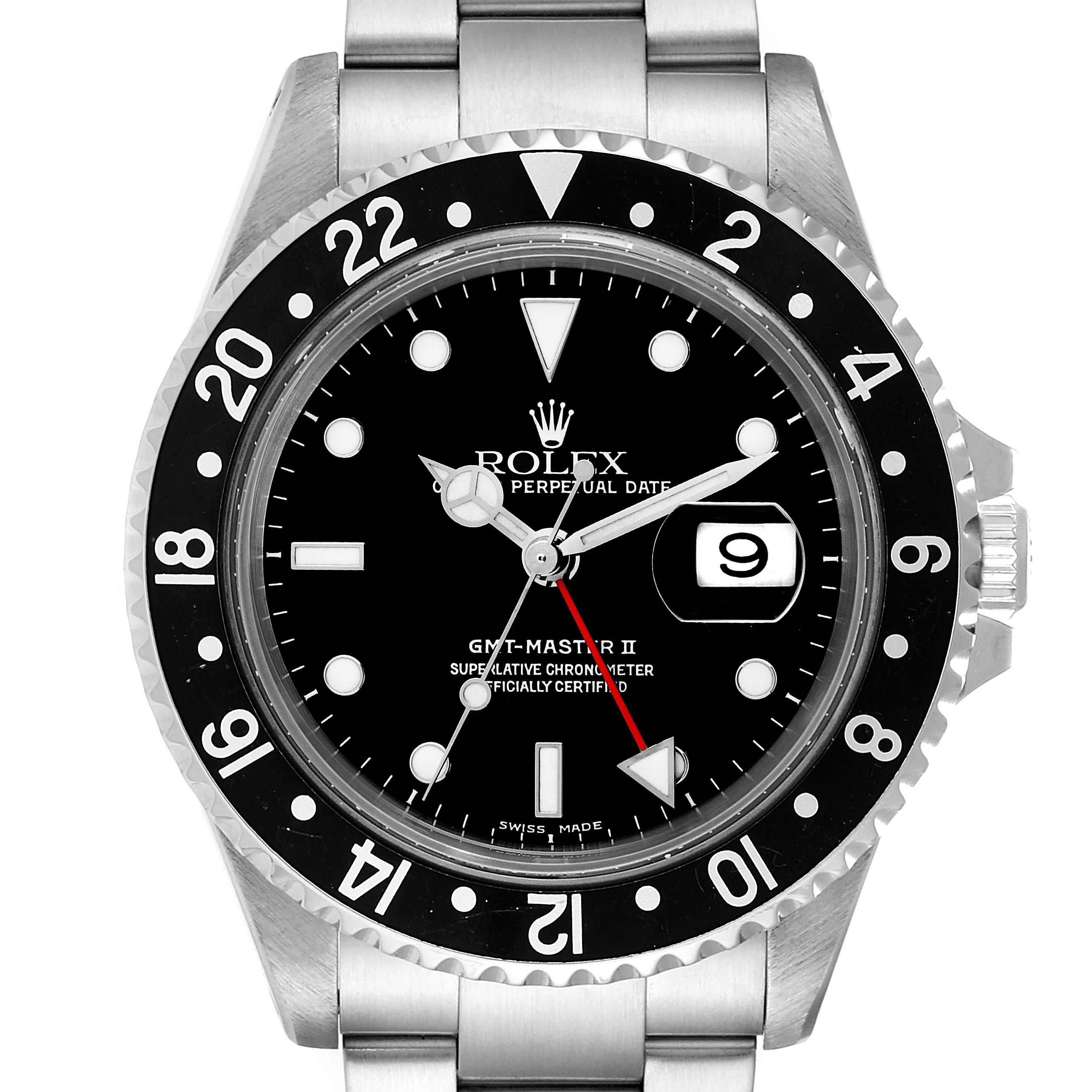 Photo of Rolex GMT Master II Black Bezel Red Hand Steel Mens Watch 16710