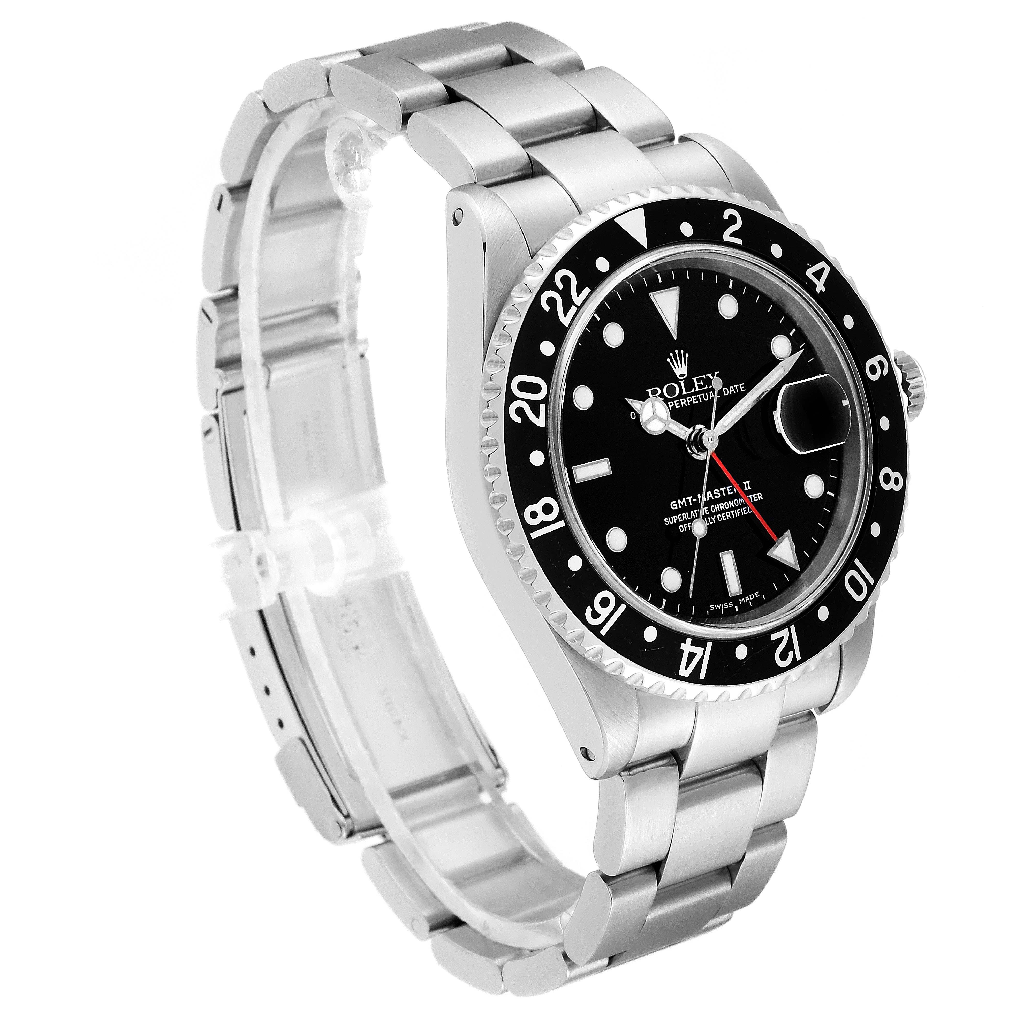 Rolex GMT Master II Black Bezel Red Hand Steel Mens Watch 16710 SwissWatchExpo