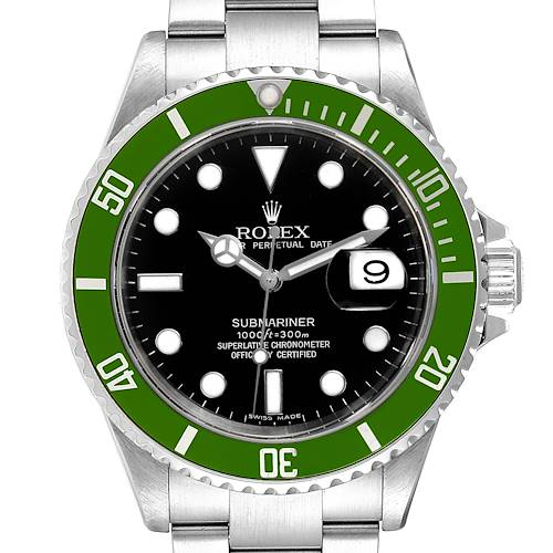 Photo of Rolex Submariner 50th Anniversary Green Kermit Watch 16610LV Box Papers