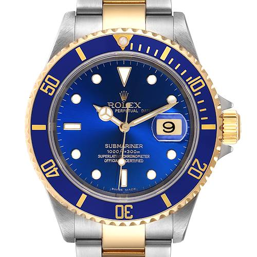 Photo of Rolex Submariner Blue Dial Steel Yellow Gold Mens Watch 16613 Box Papers