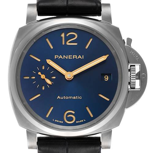 Photo of Panerai Luminor Due 38mm Blue Dial Titanium Mens Watch PAM00926 Box Card