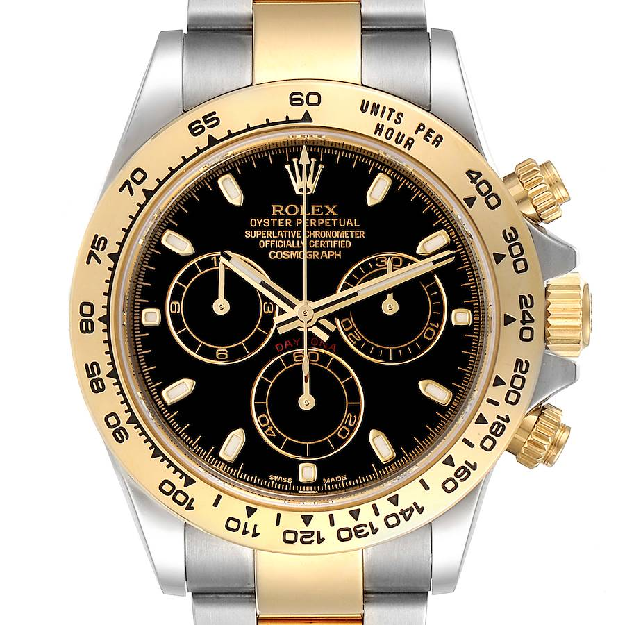 Rolex Cosmograph Daytona Steel Yellow Gold Black Dial Mens Watch 116503 SwissWatchExpo