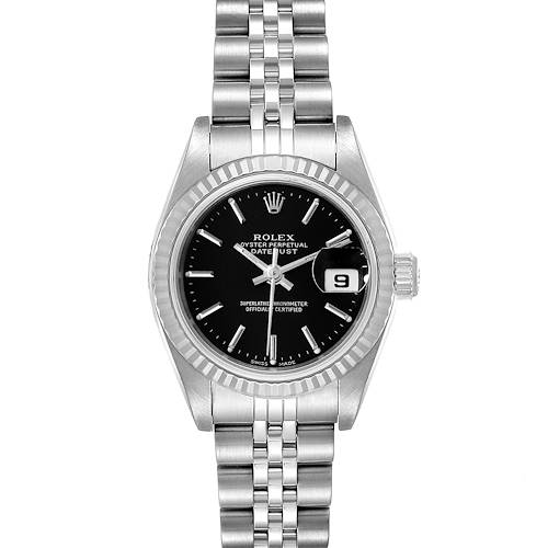 Photo of Rolex Datejust 26 Steel White Gold Black Dial Ladies Watch 79174 Box Papers