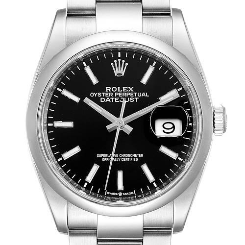 Photo of Rolex Datejust 36 Black Dial Domed Bezel Steel Mens Watch 126200