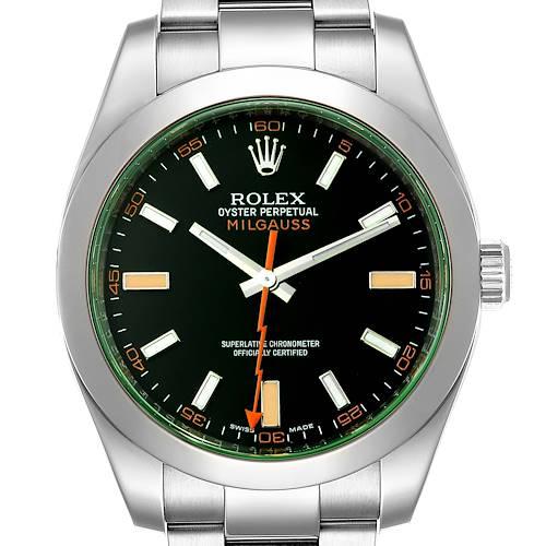 Photo of Rolex Milgauss Black Dial Green Crystal Steel Mens Watch 116400GV