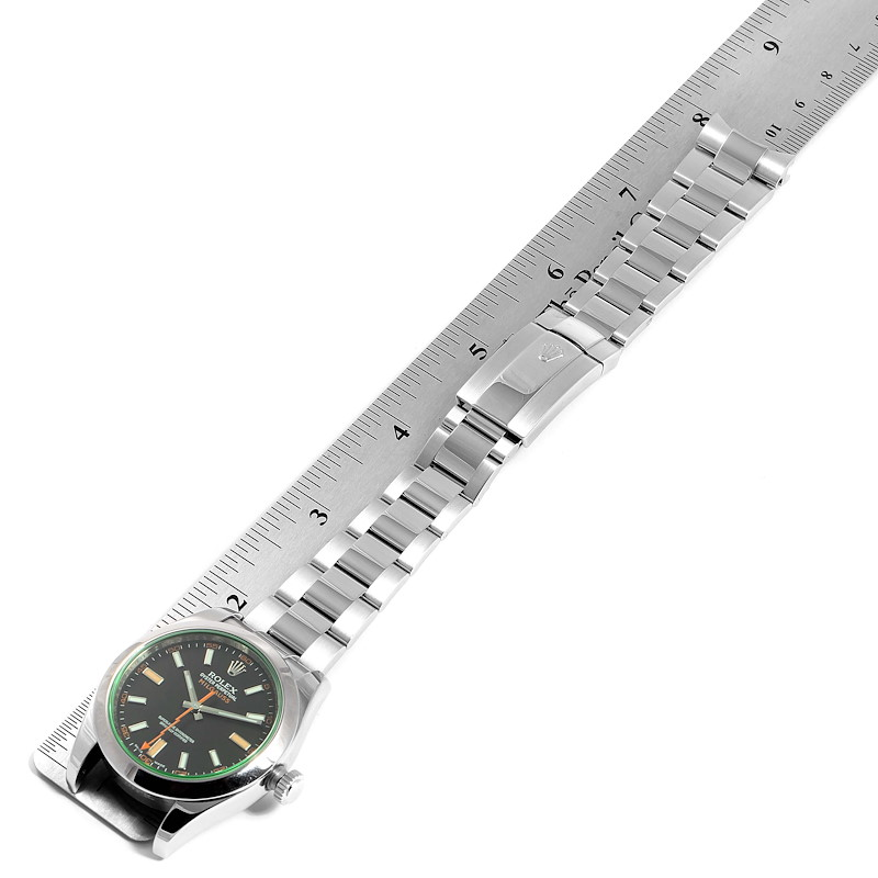 Rolex Milgauss Blue Dial Green Crystal Steel Mens Watch 116400GV SwissWatchExpo