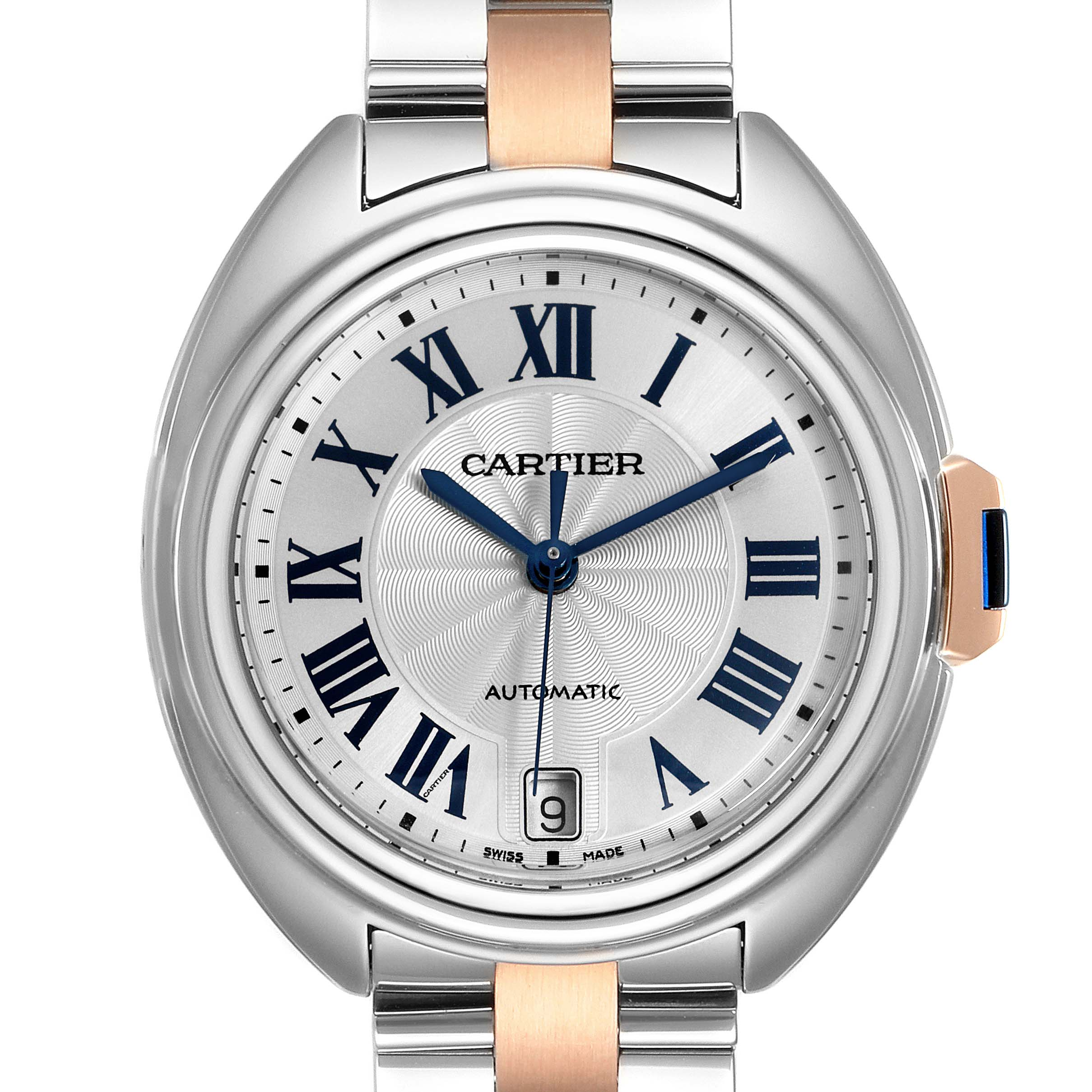 Cartier Cle Steel Rose Gold Automatic Ladies Watch W2CL0003 SwissWatchExpo