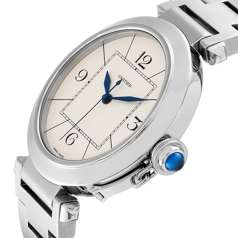 Cartier Pasha 42 Silver Dial Exhibition Case Back Steel Mens Watch W31072M7 SwissWatchExpo