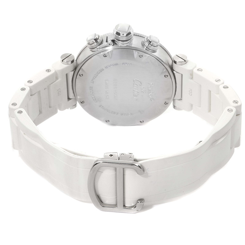 Cartier Pasha Seatimer Chronograph Rubber Strap Ladies Watch W3140005 SwissWatchExpo