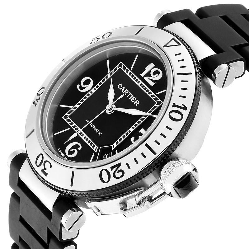 Cartier Pasha Seatimer Rubber Strap Watch W31088U2 Box SwissWatchExpo