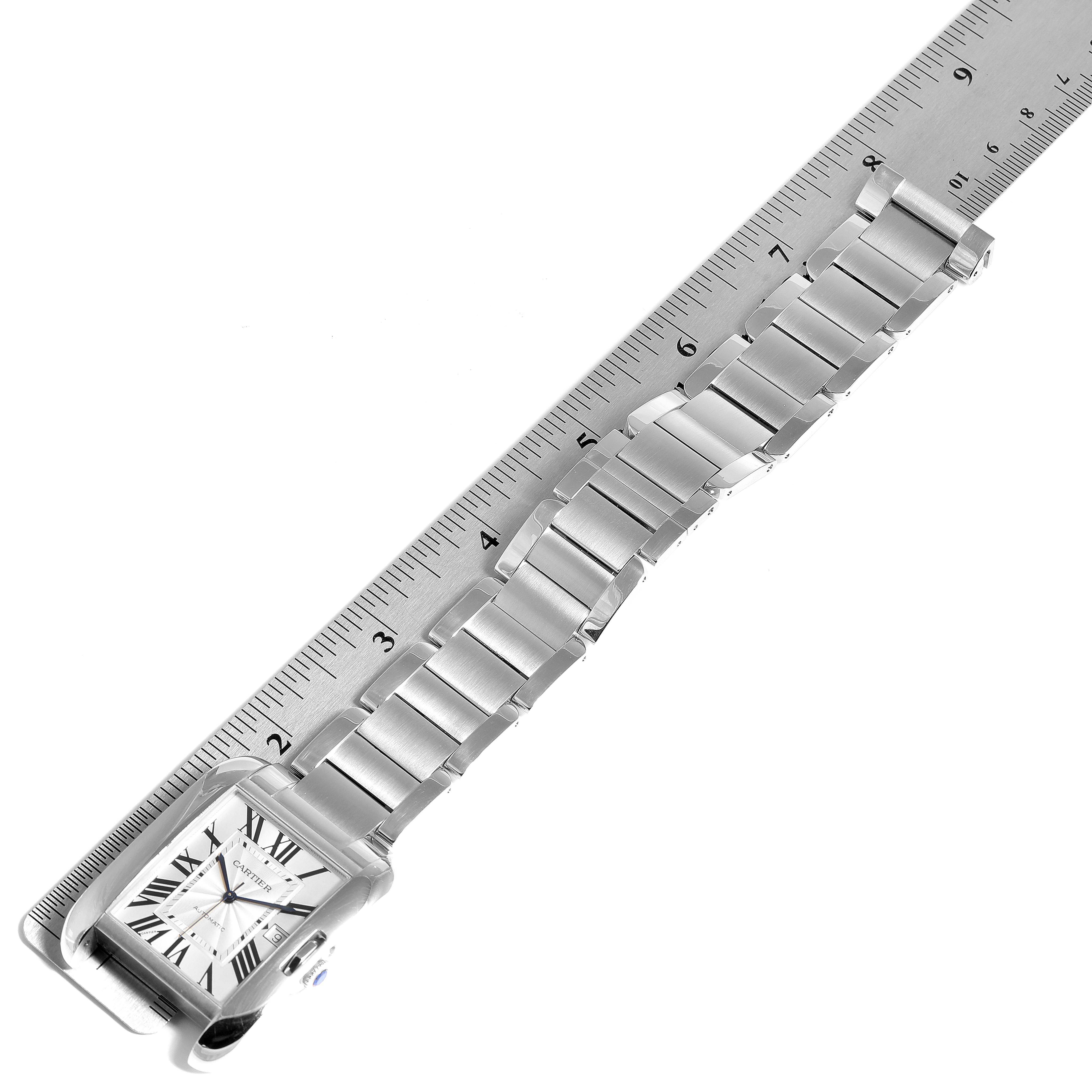 Cartier Tank Anglaise XL Steel Automatic Mens Watch W5310008 Box Papers SwissWatchExpo