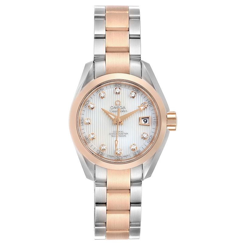 Omega Aqua Terra Steel Rose Gold Diamond Watch 231.20.30.20.55.001 SwissWatchExpo
