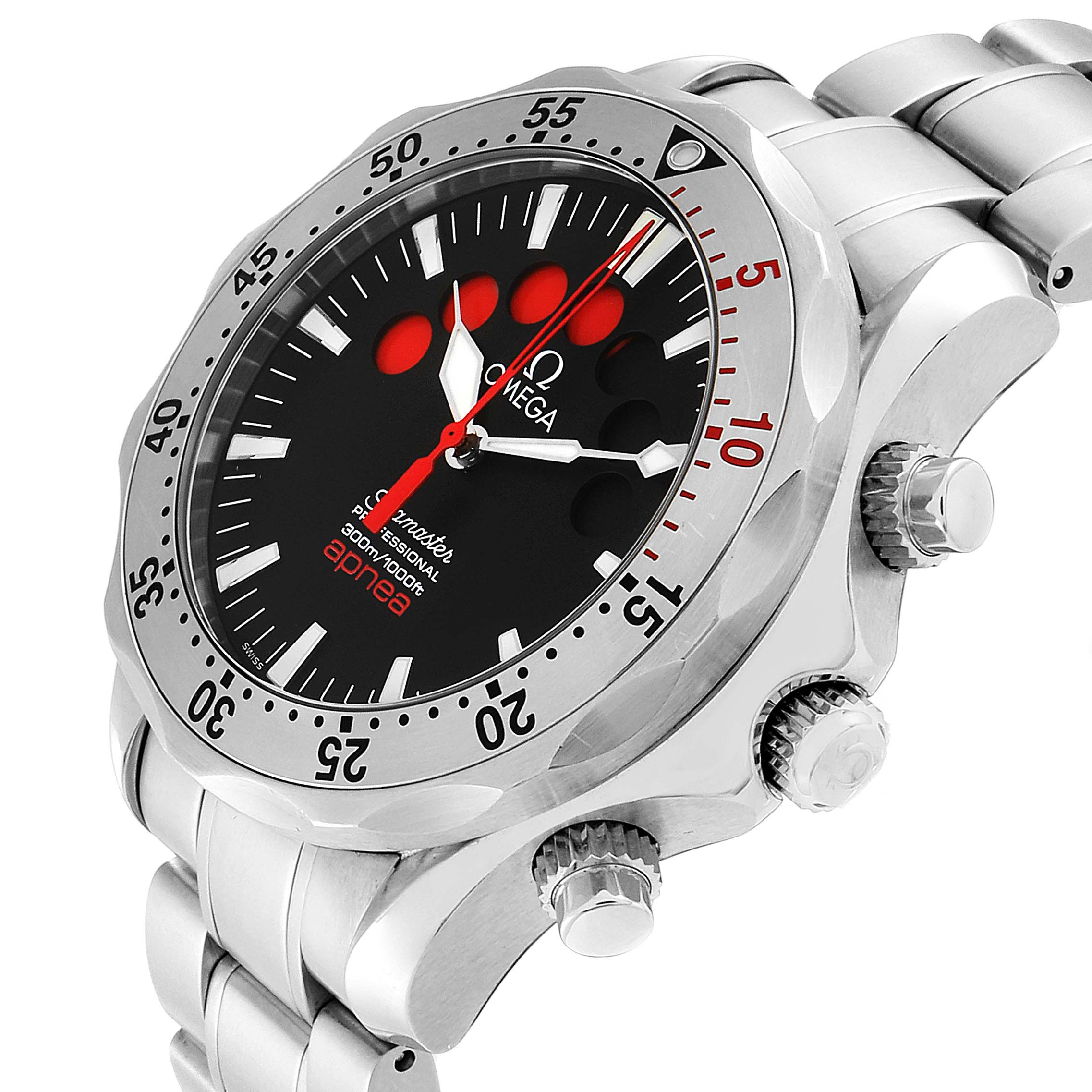Omega Seamaster Apnea Jacques Mayol Black Dial Mens Watch 2595.50.00 SwissWatchExpo