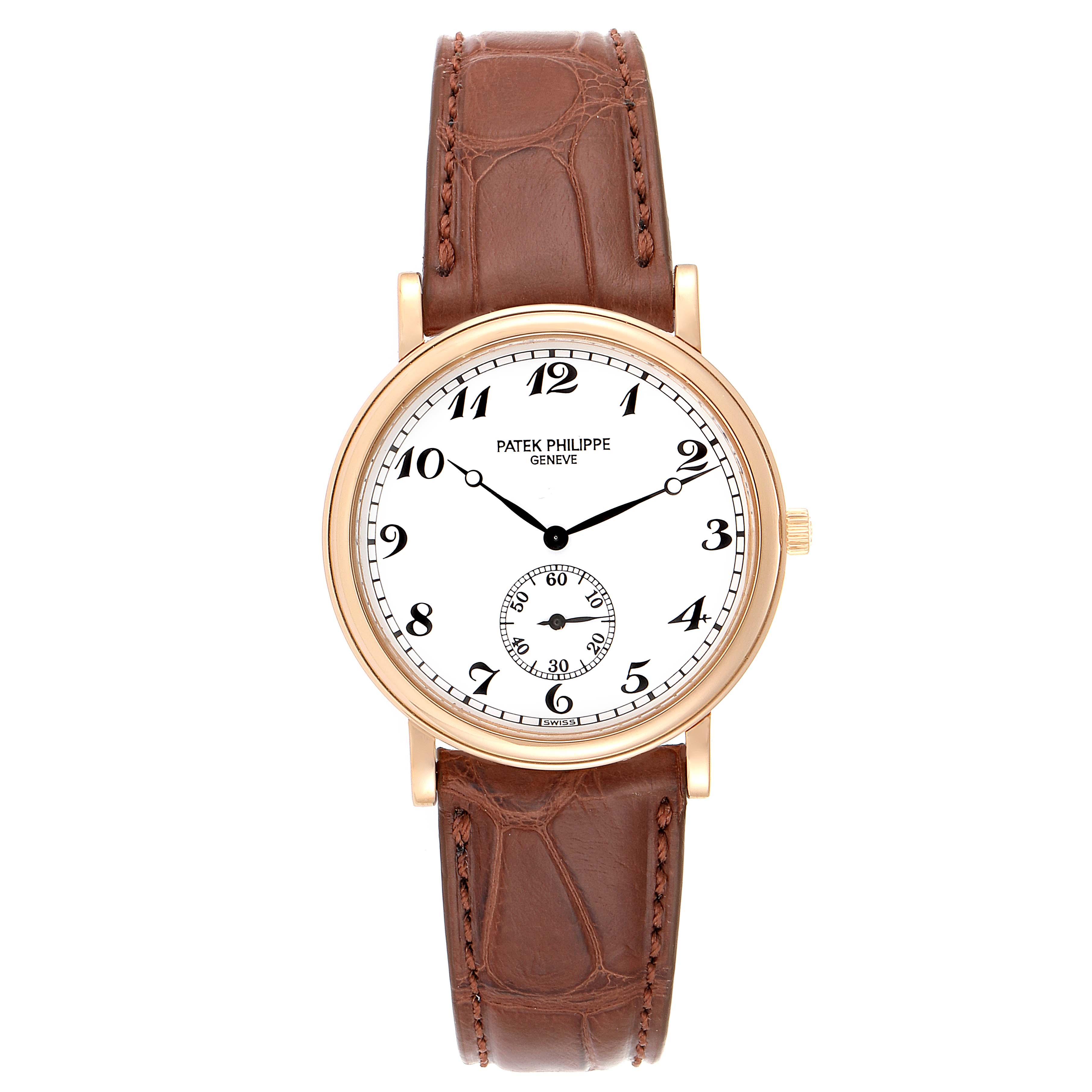 Patek Philippe Calatrava Officier 18K Rose Gold Mens Watch 5022 SwissWatchExpo