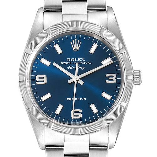 Photo of Rolex Air King 34 Blue Dial Oyster Bracelet Steel Mens Watch 14010