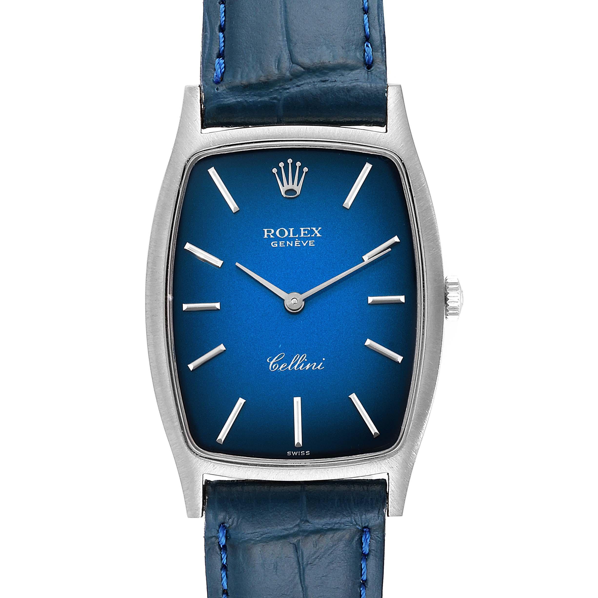 Rolex Cellini White Gold Blue Vignette Dial Vintage Ladies Watch 3807