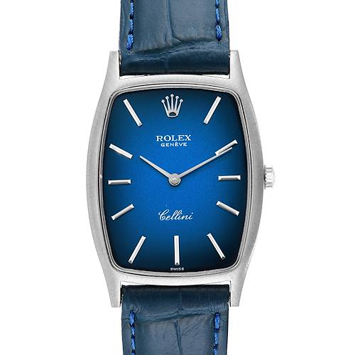 Rolex Cellini White Gold Blue Vignette Dial Vintage Ladies Watch 3807