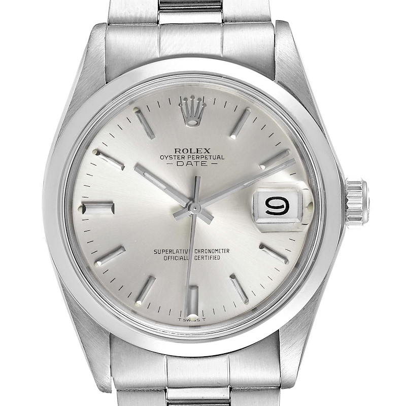 Rolex Date Silver Dial Domed Bezel Vintage Mens Watch 1500 SwissWatchExpo