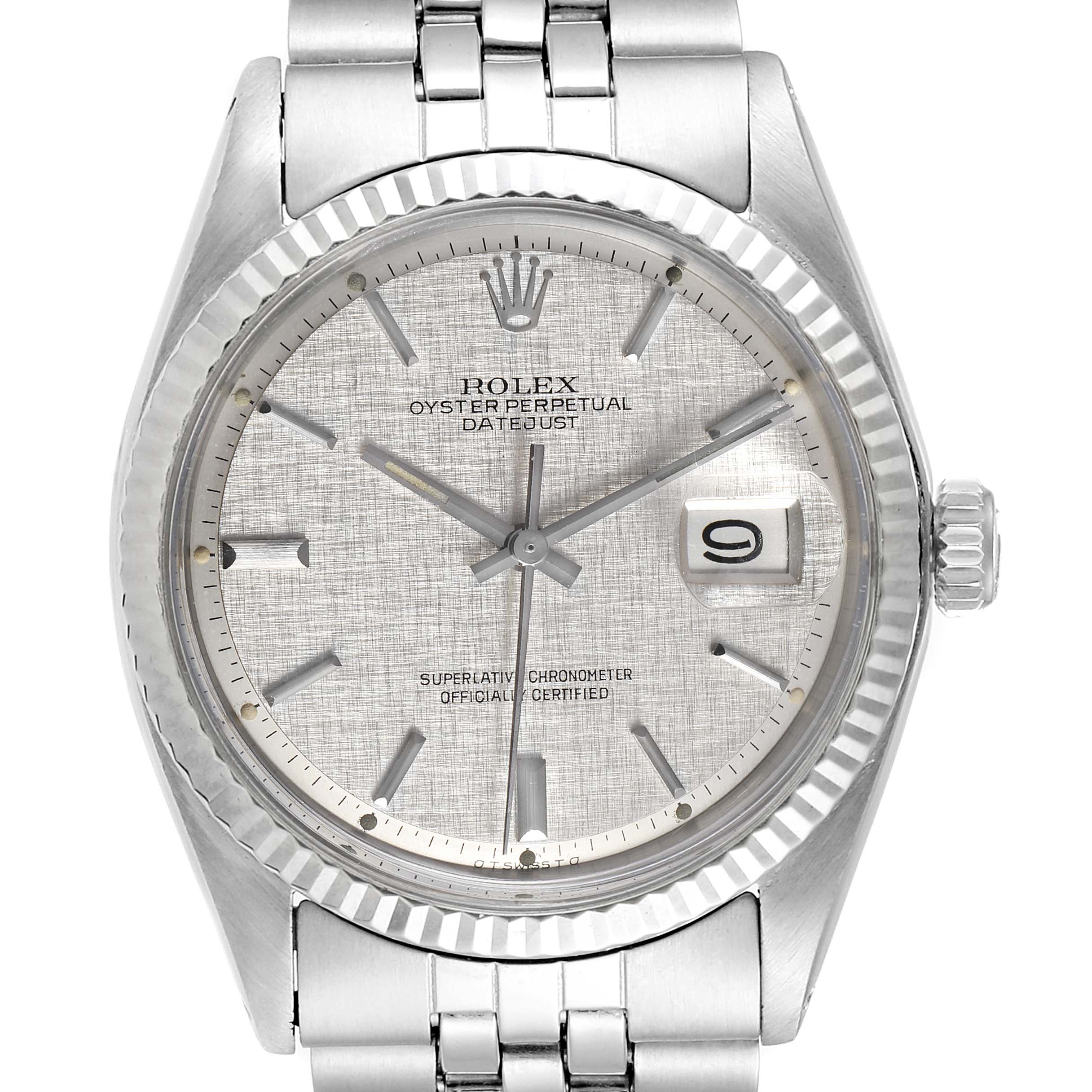 Photo of Rolex Datejust Steel White Gold Linen Dial Vintage Watch 1601 Box Papers