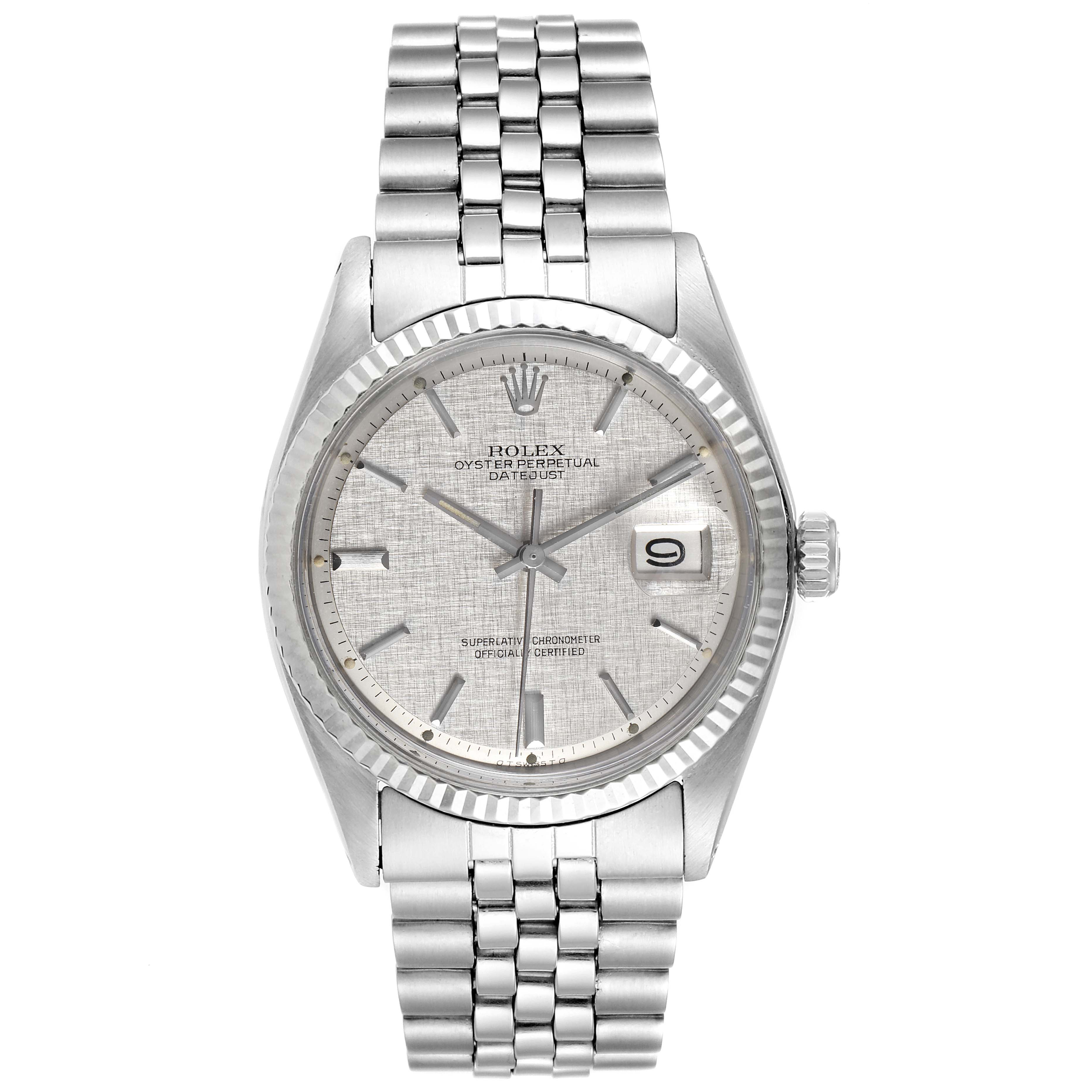 Rolex Datejust Steel White Gold Linen Dial Vintage Watch 1601 Box Papers SwissWatchExpo