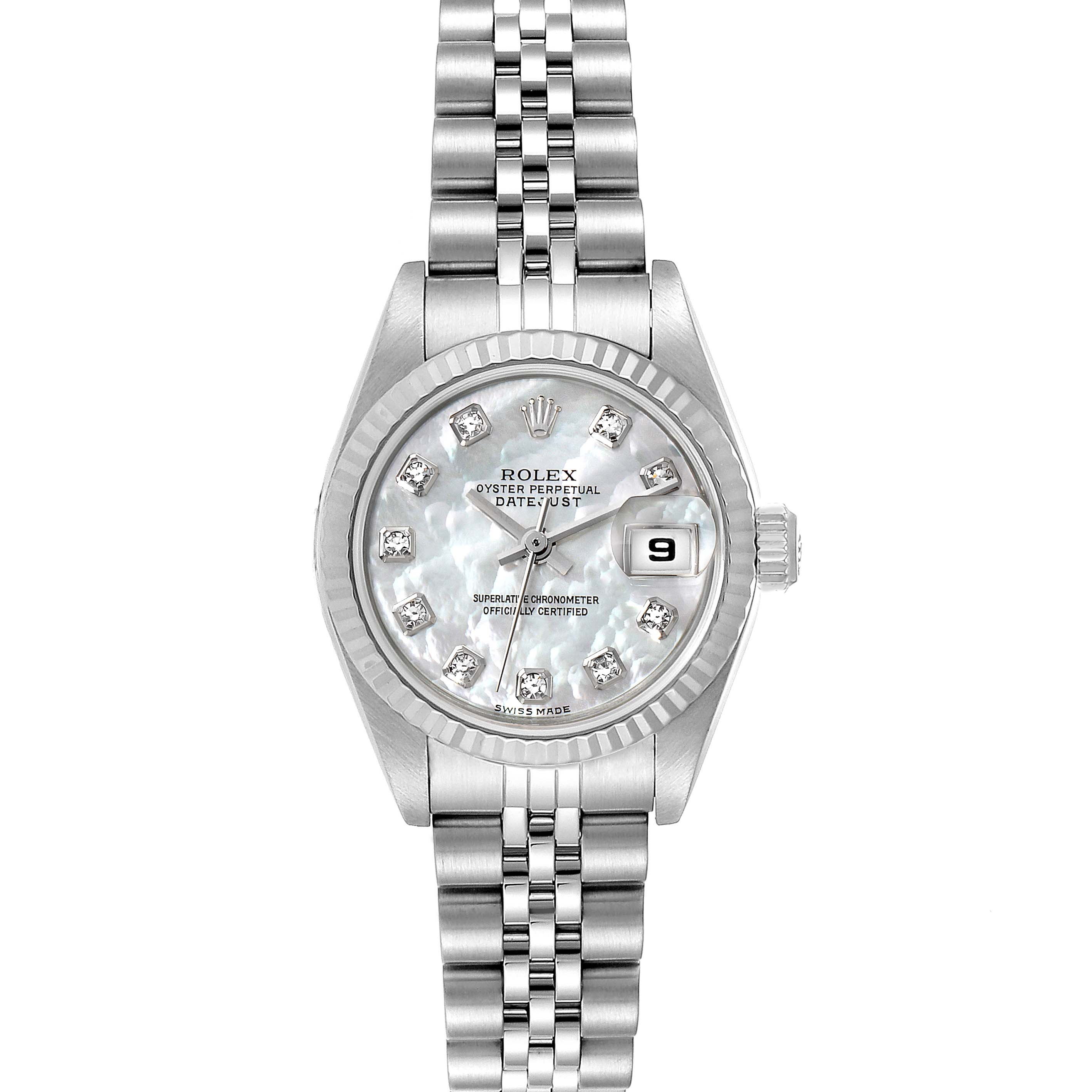 Photo of Rolex Datejust Steel White Gold Mother of Pearl Diamond Ladies Watch 79174