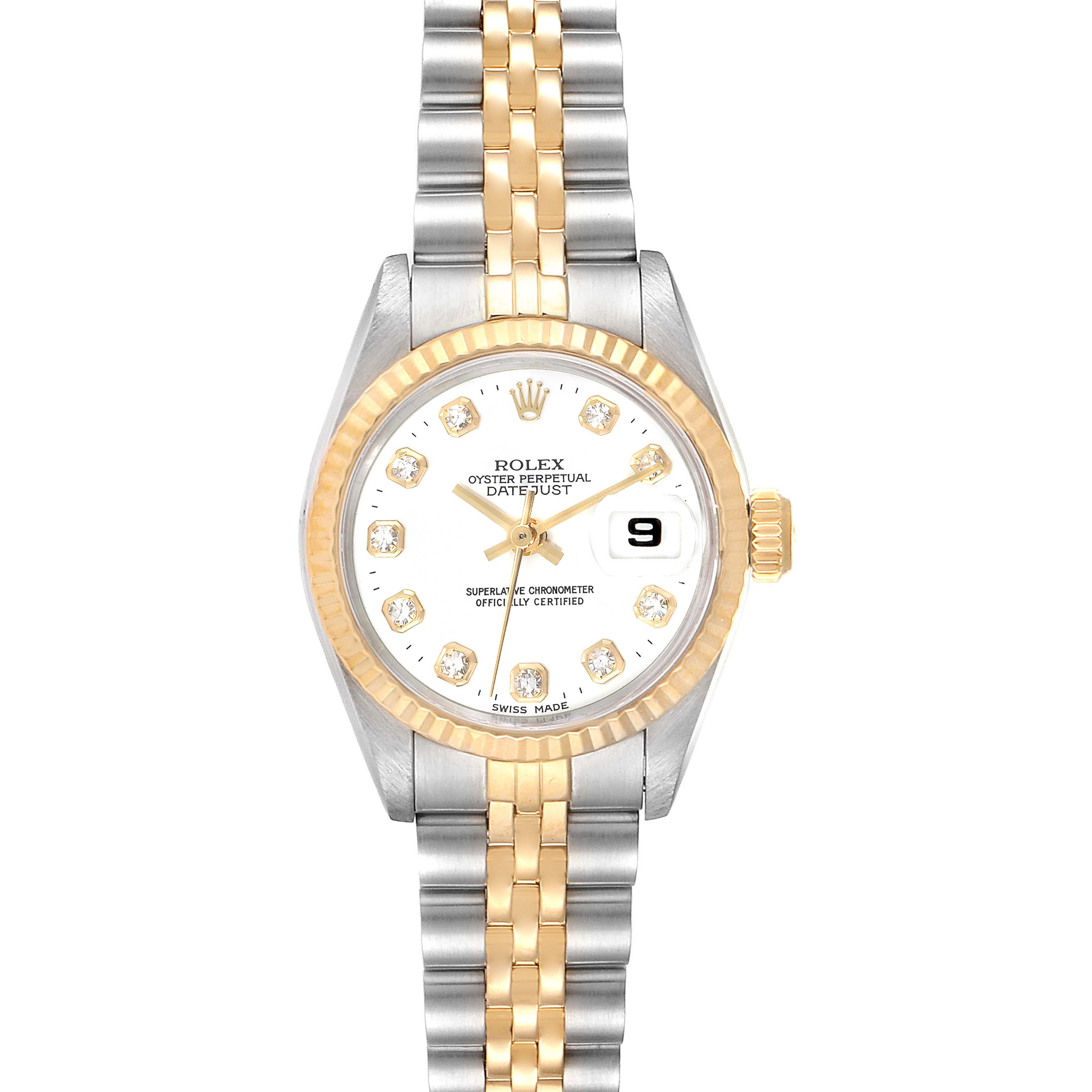 Photo of Rolex Datejust Steel Yellow Gold Diamond Dial Ladies Watch 69173