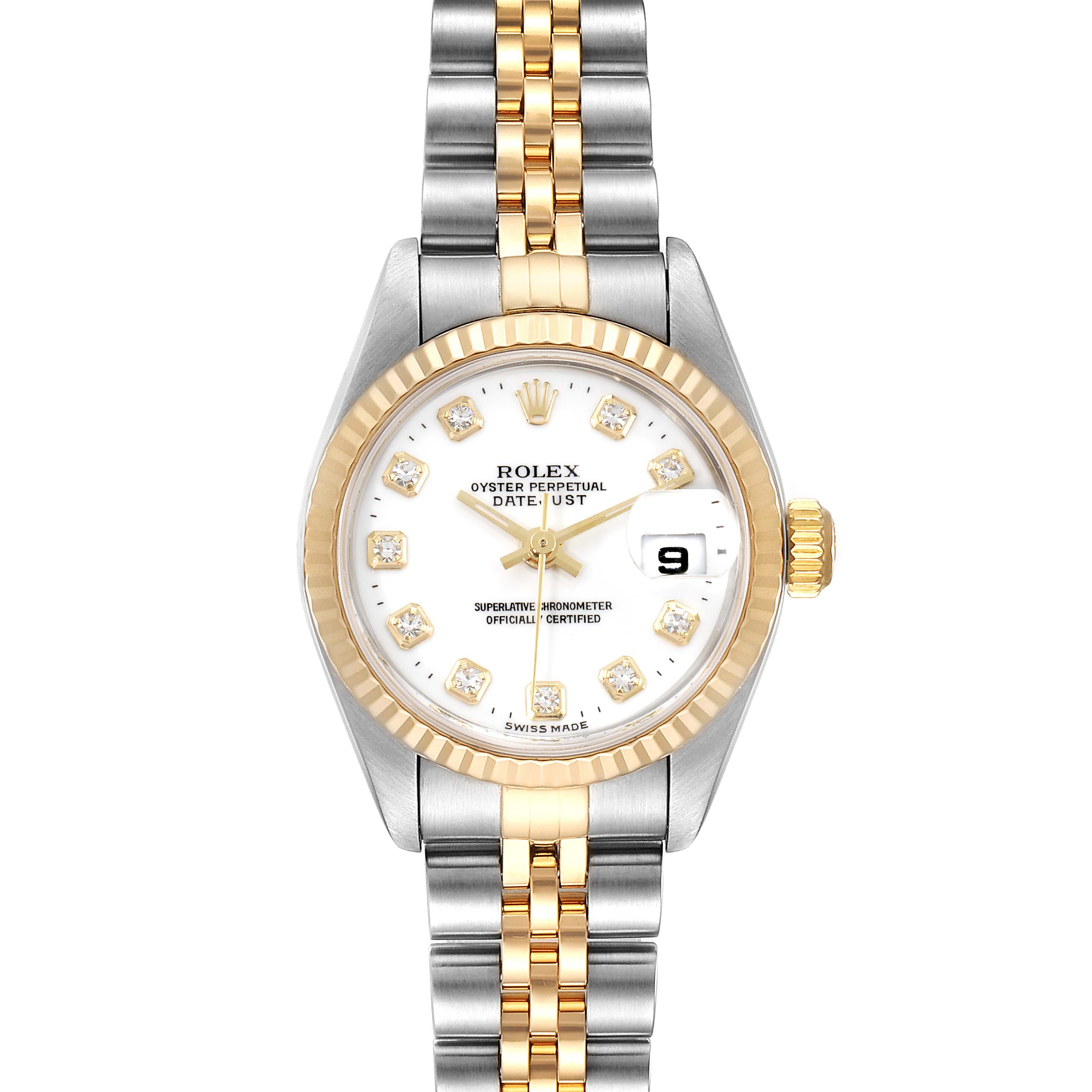 Photo of Rolex Datejust Steel Yellow Gold Diamond Ladies Watch 79173 Box Papers