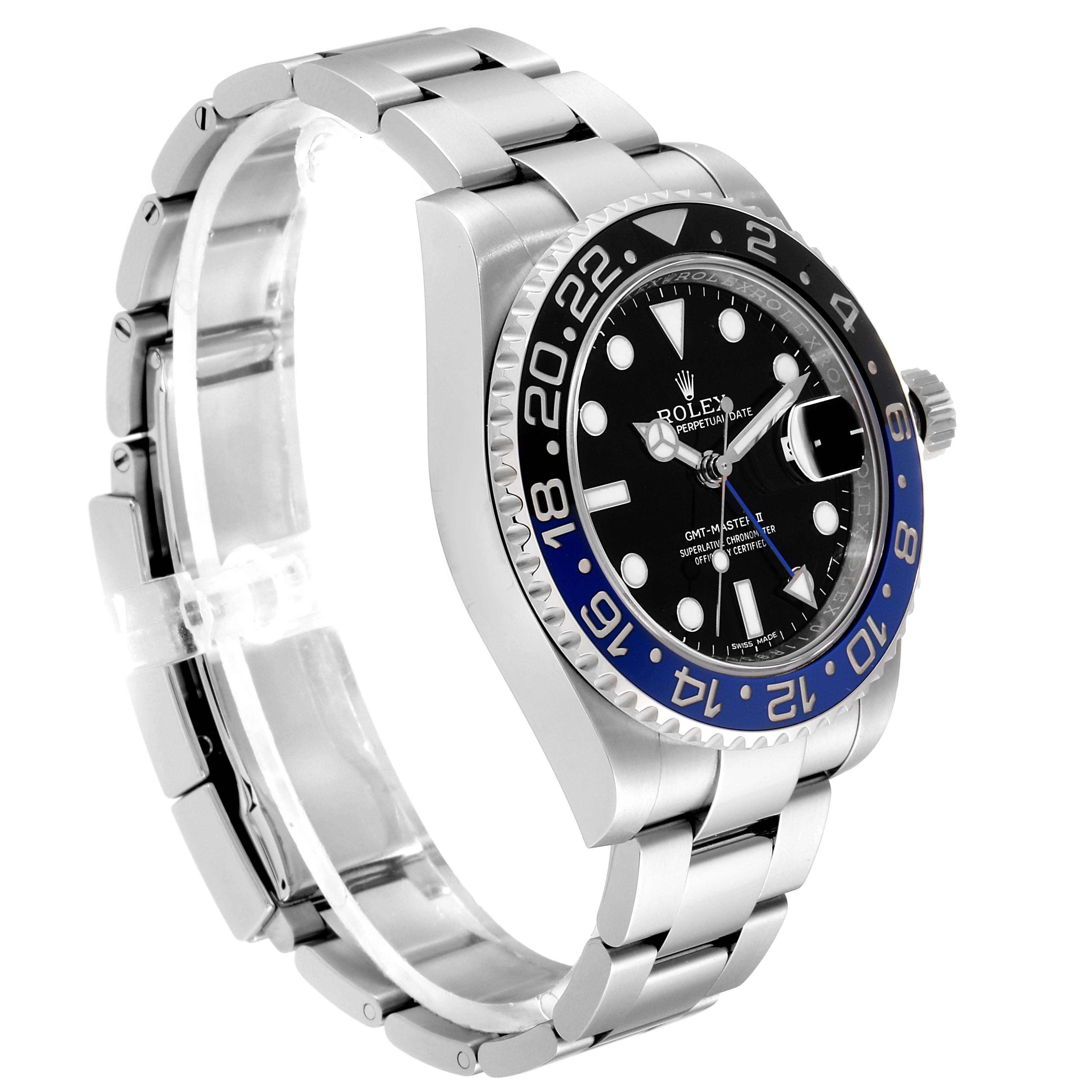 Rolex GMT Master II Batman Blue Black Bezel Steel Watch 116710 Unworn SwissWatchExpo