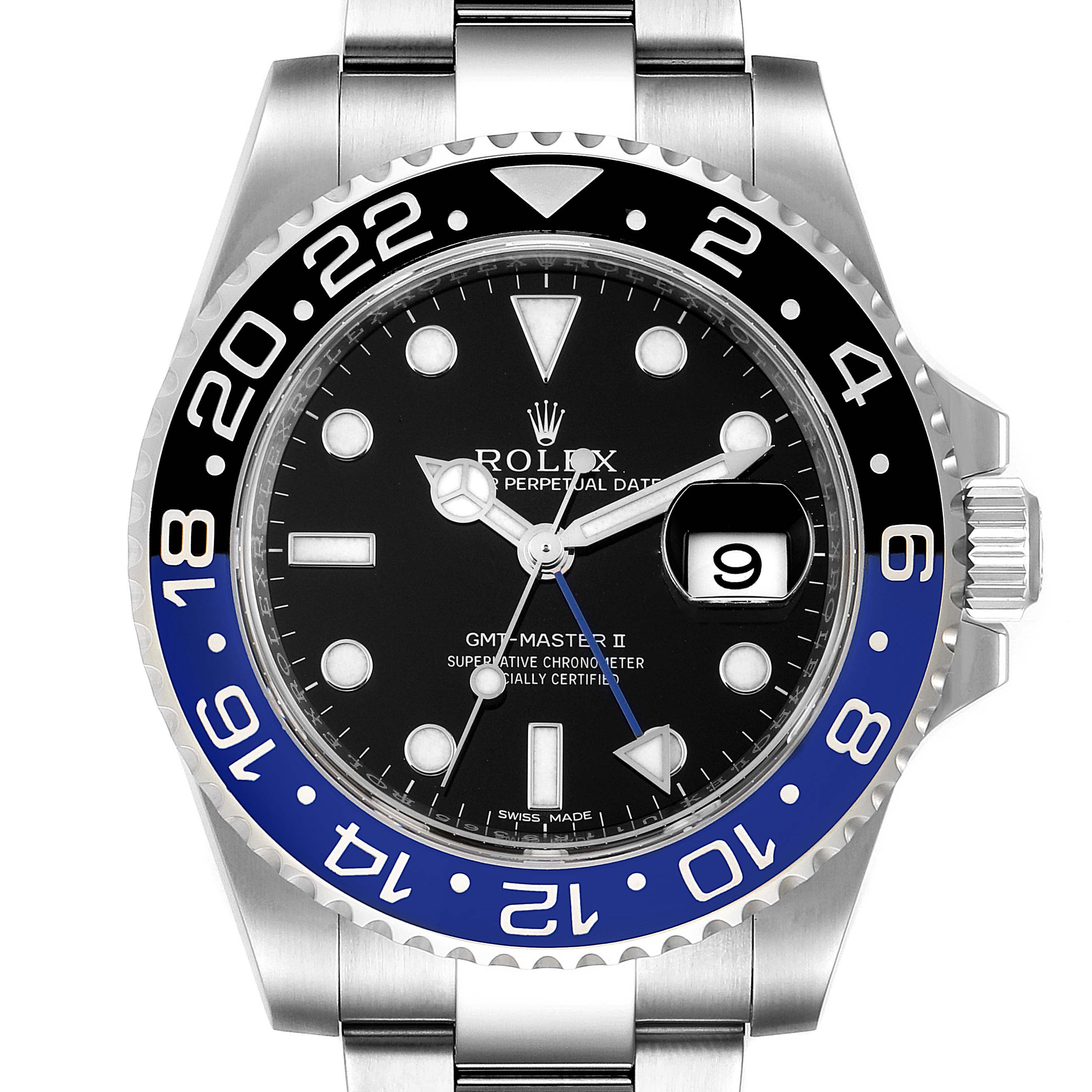 Photo of Rolex GMT Master II Batman Blue Black Bezel Steel Watch 116710 Unworn
