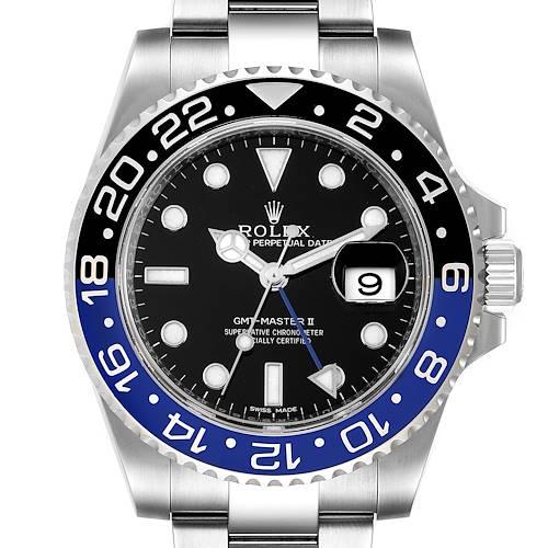 Photo of Rolex GMT Master II Batman Blue Black Bezel Steel Watch 116710 Unworn