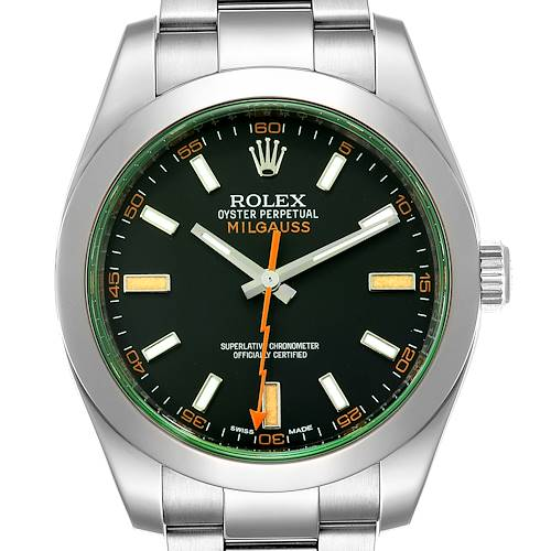 Photo of Rolex Milgauss Black Dial Green Crystal Steel Mens Watch 116400GV Box Card