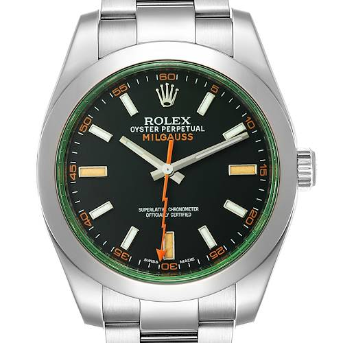 Photo of Rolex Milgauss Green Crystal Steel Mens Watch 116400GV Box Card