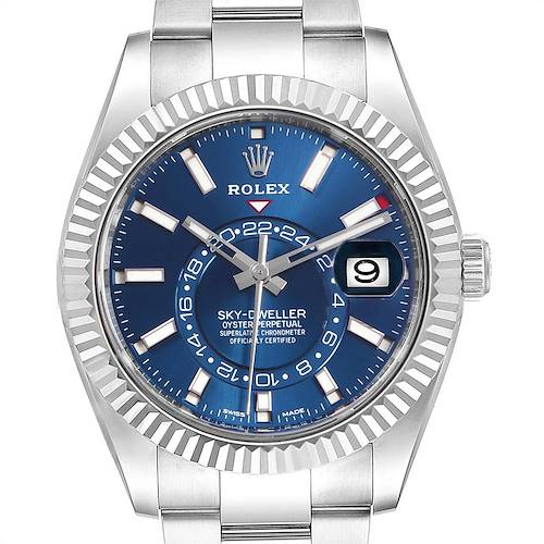 Photo of Rolex Sky Dweller Blue Dial Steel White Gold Mens Watch 326934 Unworn
