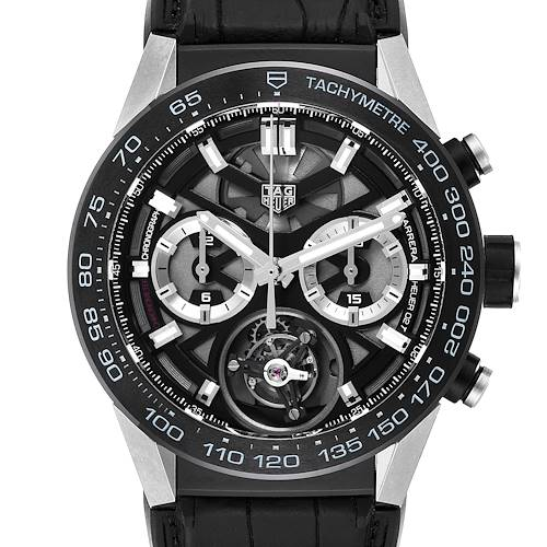Photo of Tag Heuer Carrera Tourbillon Chronograph Titanium Mens Watch CAR5A8Y