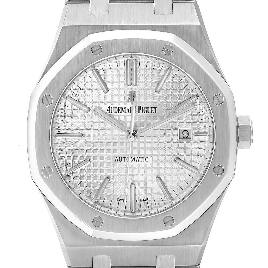 Audemars Piguet Royal Oak White Dial Steel Mens Watch 15400ST Box Papers SwissWatchExpo