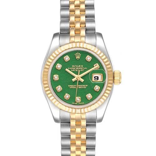 Photo of Rolex Datejust 26 Steel Yellow Gold Jade Diamond Dial Watch 179173 Box Card