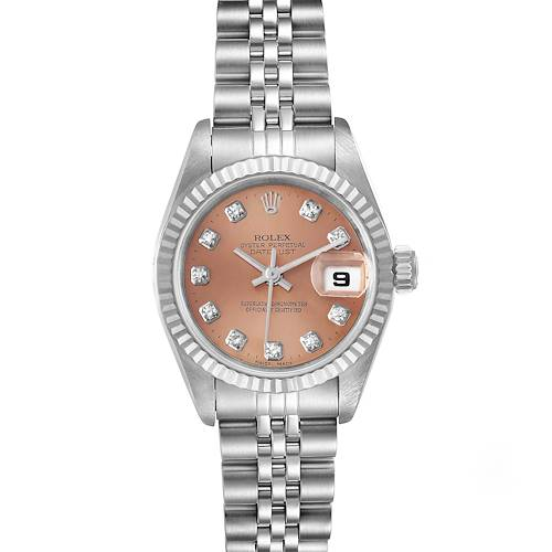 Photo of Rolex Datejust Steel White Gold Salmon Diamond Dial Watch 79174 Box Papers