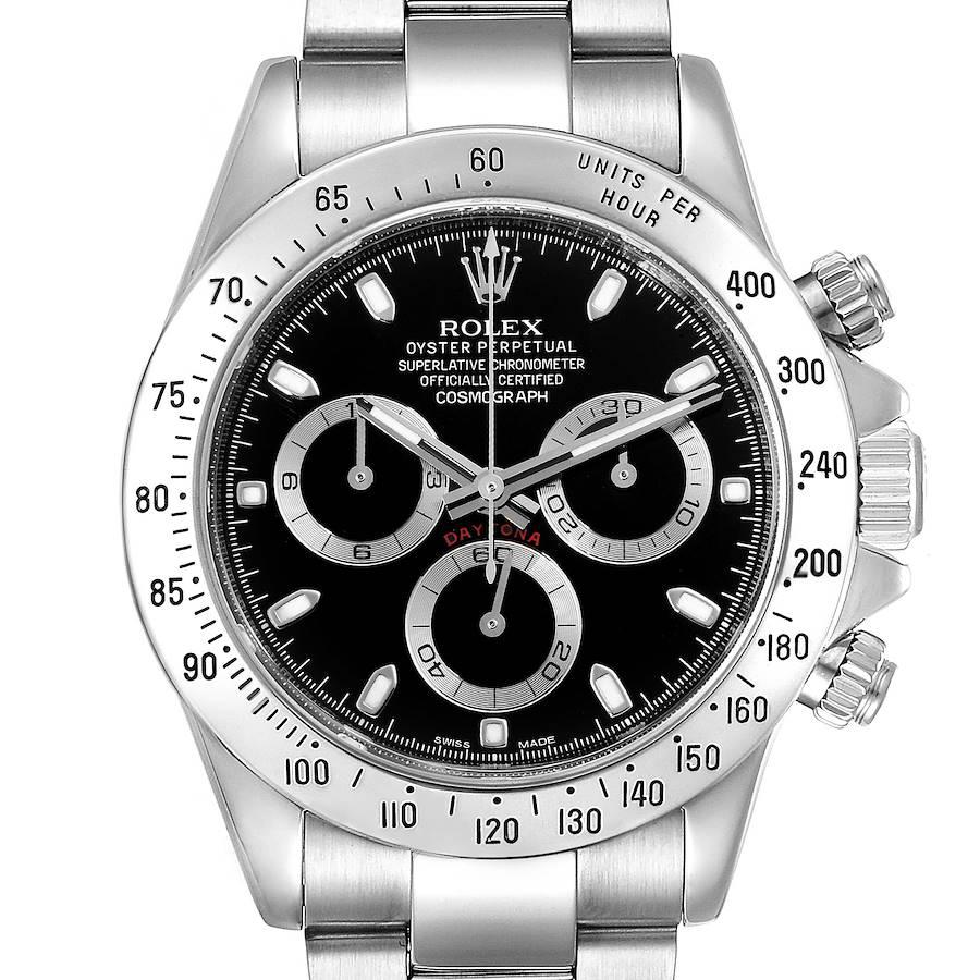 Rolex Daytona Black Dial Chronograph Steel Mens Watch 116520 Box Card SwissWatchExpo