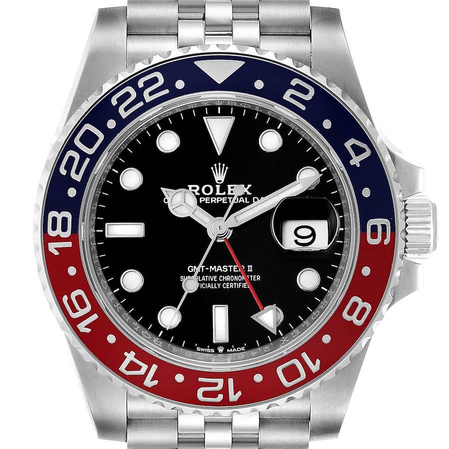 Rolex GMT Master II Pepsi Bezel Jubilee Steel Mens Watch 126710 Unworn SwissWatchExpo