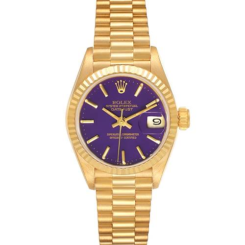 Photo of Rolex President Datejust 26 Yellow Gold Purple Dial Watch 69178 Box Papers